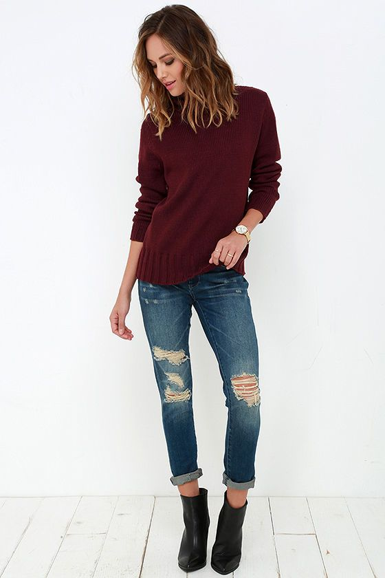 Always in Harmony Burgundy Turtleneck Sweater at Lulus.com!