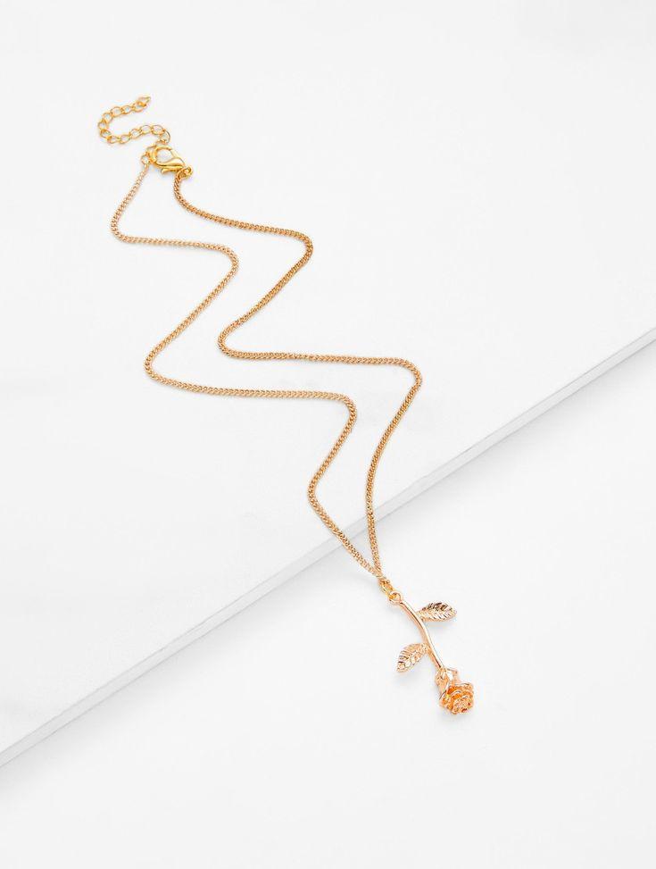 Rose Pendant Chain Necklace