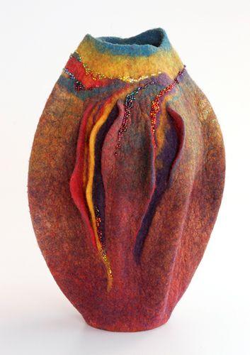 Sharon Costello / sculptural felt vessel. Follow Fiber Art Now on FB for more fiber art finds - www.facebook.com/FiberArtNow