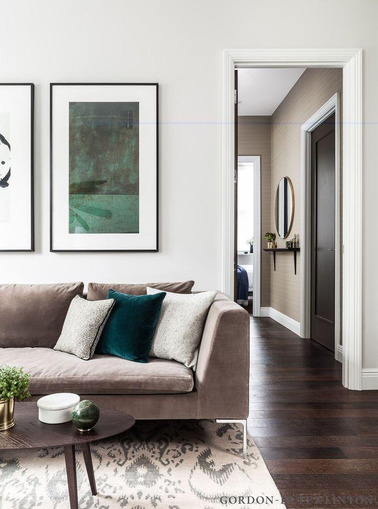 Living room through to hallway shot. B&B Italia sofa with custom-made cushions and our bespoke split veneer coffee table.   #GD&LBespokeFurniture
