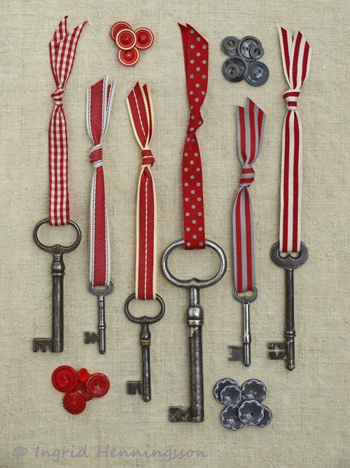 Vintage Keys and Red Ribbons