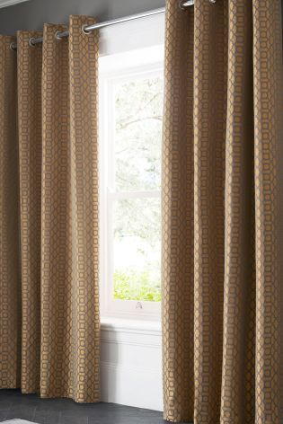 Copper Plum Woven Geo Jacquard Eyelet Curtains