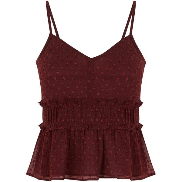 Teens Burgundy Spot Shirred Cami Top ($5.41) ❤ liked on Polyvore featuring tops, red polka dot tank, red tank top, burgundy camisole, camisole tank top and ruched top