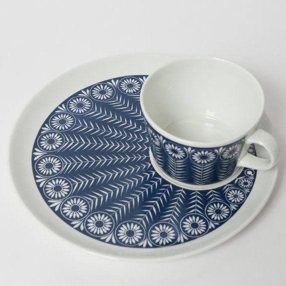 arabia cup saucer blue raija uosikkinen kaj franck by northvintage