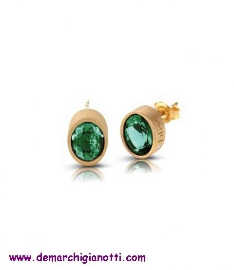 Bliss gioielli orecchini 3418700   In argento placcato oro   Pietre termali color smeraldo e diamanti  www.demarchigianotti.com