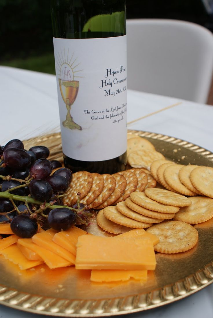 Grapes, Grape Juice & crackers to simulate communion.  Wine bottle said - The Grace of the Lord Jesus Christ and the Love of God and the fellowship of the Holy Spirit be with you all  Corianthians 13:14
