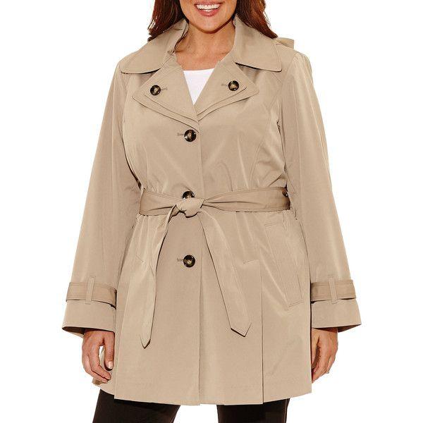 Liz Claiborne Belted Raincoat-Plus ($172) ❤ liked on Polyvore featuring plus size women's fashion, plus size clothing, plus size outerwear, plus size coats, liz claiborne coats, rain coat, beige coat, belted raincoat and beige raincoat