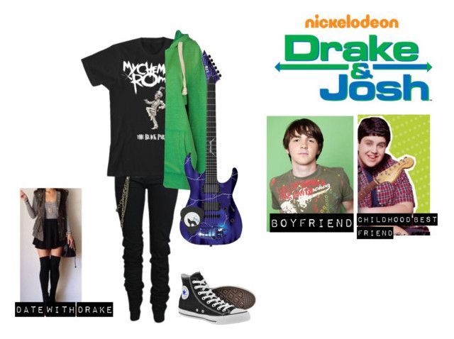 """me in: 'drake & Josh'"" by j-j-fandoms ❤ liked on Polyvore featuring Karl Lagerfeld, 40WEFT and Converse"