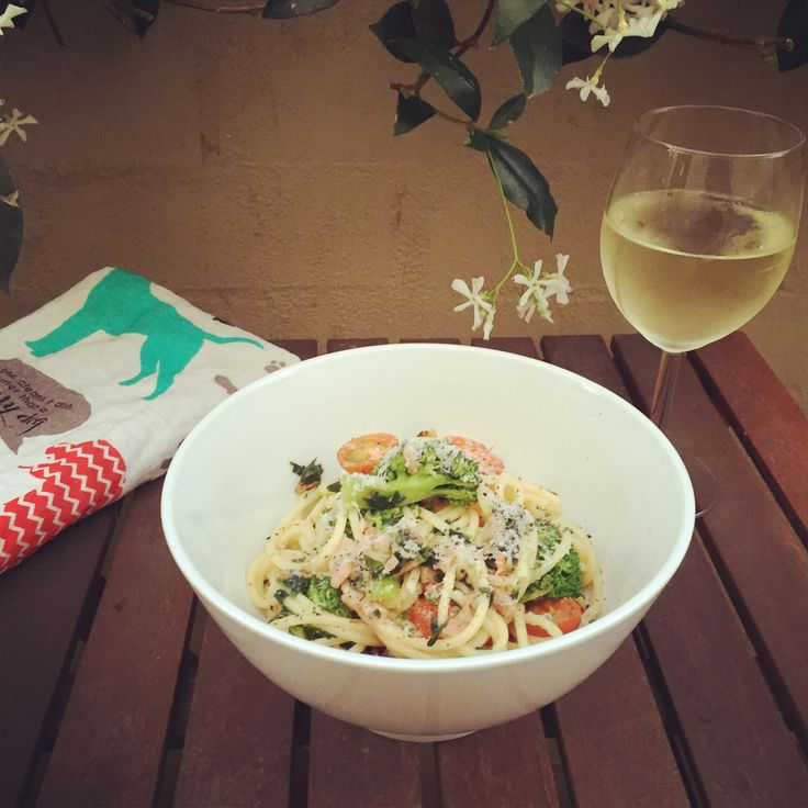 Quick and yummy spaghetti with bacon (of course), parsley and garlic. Mmmm mmmm