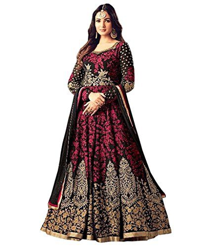 1e56c0c1cd Sasimo Women's Gown Latest Party Wear Design Georgette silk Embroidery Semi  Stitched Free Size Salwar Suit Dress Material (MaishaBlack_Black) ...