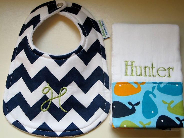 NEW item in my lil' Etsy shop - Monogrammed bibs and Chevron fabric!