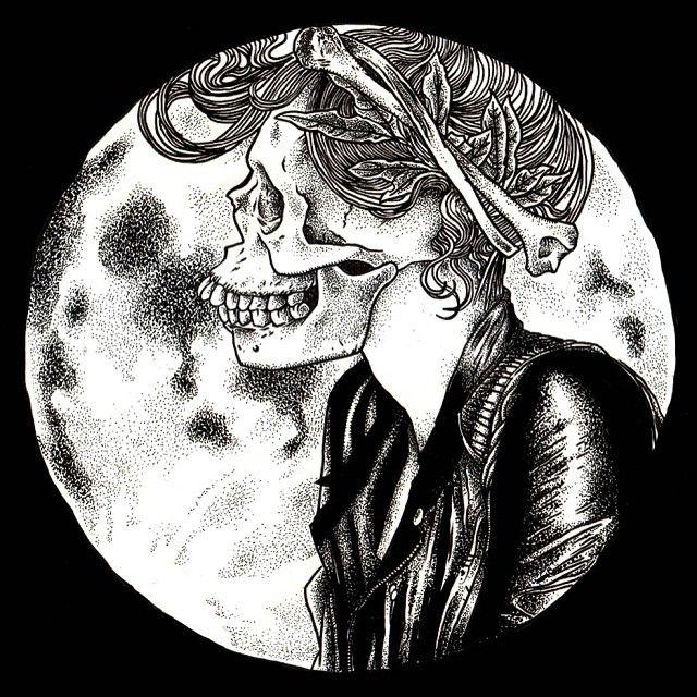 .Skull Metal Girl in the Moon.   art for Boycott Love Cloth.  http://www.gozervisions.com/