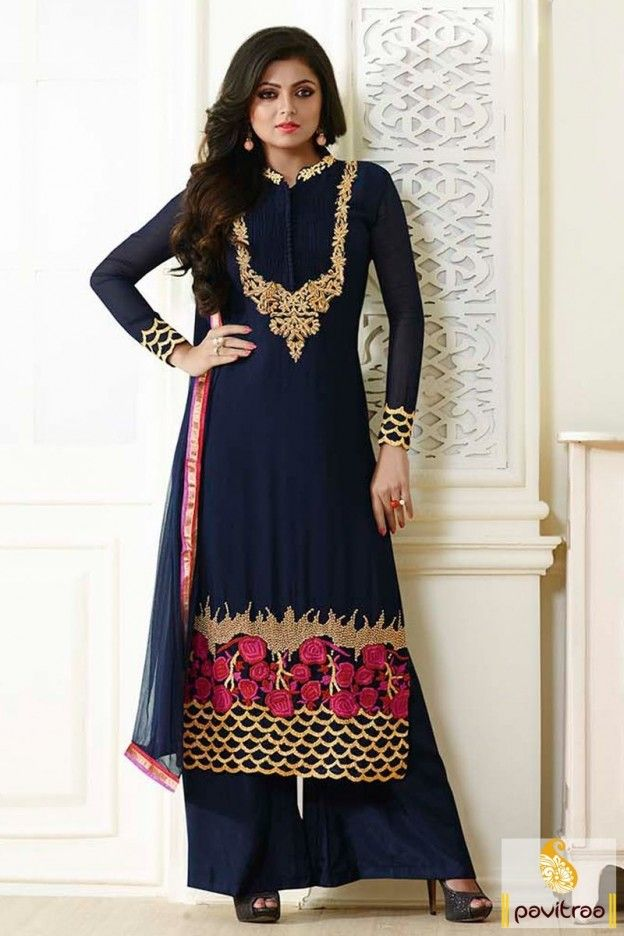 An ovation to high style with beautiful cobalt blue color Drashti Dhami style Pakistani palazzo salwar suit for wedding and party occasion. Get designer salwar suits in UK, US, Canada, Singapore, Malaysia with affordable prices. #salwarsuit, #designersalwarsuit more: http://www.pavitraa.in/store/designer-dresses-collection/