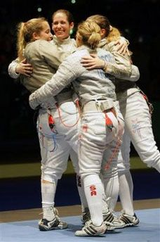 American women take sabre gold. The U.S. women's sabre team beat Russia 45-36 on October 15, 2005 to take gold on the final day of the 2005 Fencing World Championships held at the Leipzig, Germany arena. The American team was led by Mariel Zagunis, the Olympic sabre champion, and Sada Jacobson, who took bronze in the same event. They were the first two American women to ever medal at the Olympics.