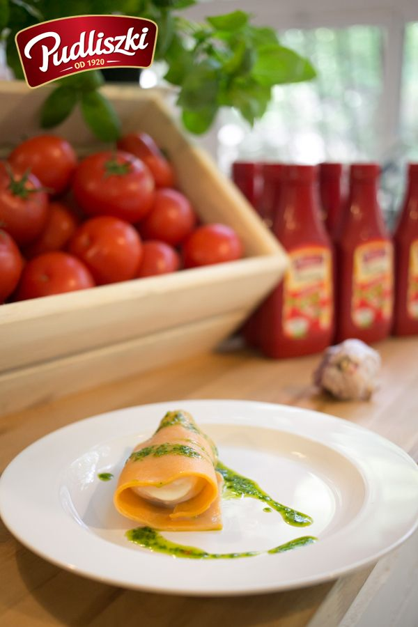 Cannelloni z ketchupu z mozarellą.  #pudliszki #przepis #wegetariańskie #mozzarella #ketchup
