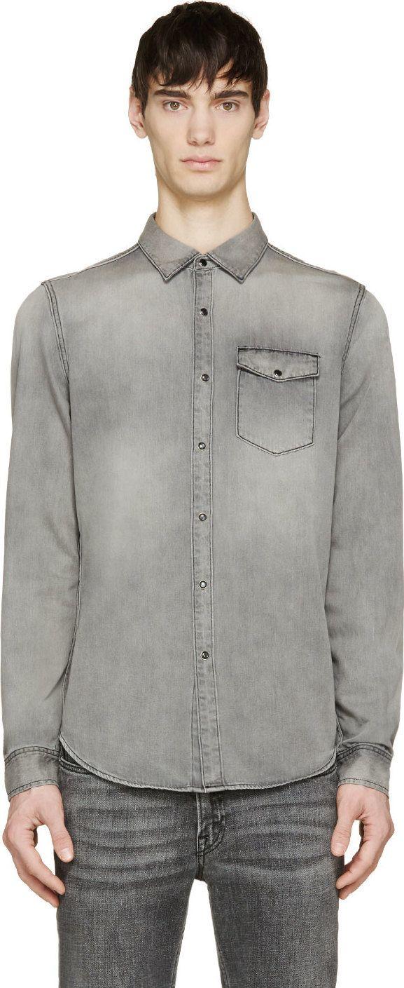 BLK DNM - Grey Faded Denim Shirt