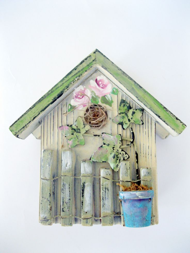 Napkin/Letter Holder Bird House, Spring Decor Bird House Napkin/Letter Holder, Painted Roses on Napkin Holder, by mailordervintage on