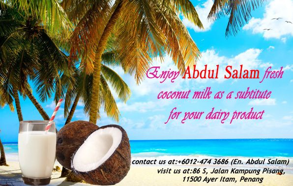 Change now for a greater benefits. Abdul Salam Coconut milk is better than dairy product for your health and cooking. It makes your cooking taste amazingly delicious with the natural taste. Get it now from Abdul Salam.