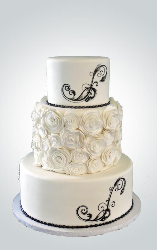 cake for a black tie wedding