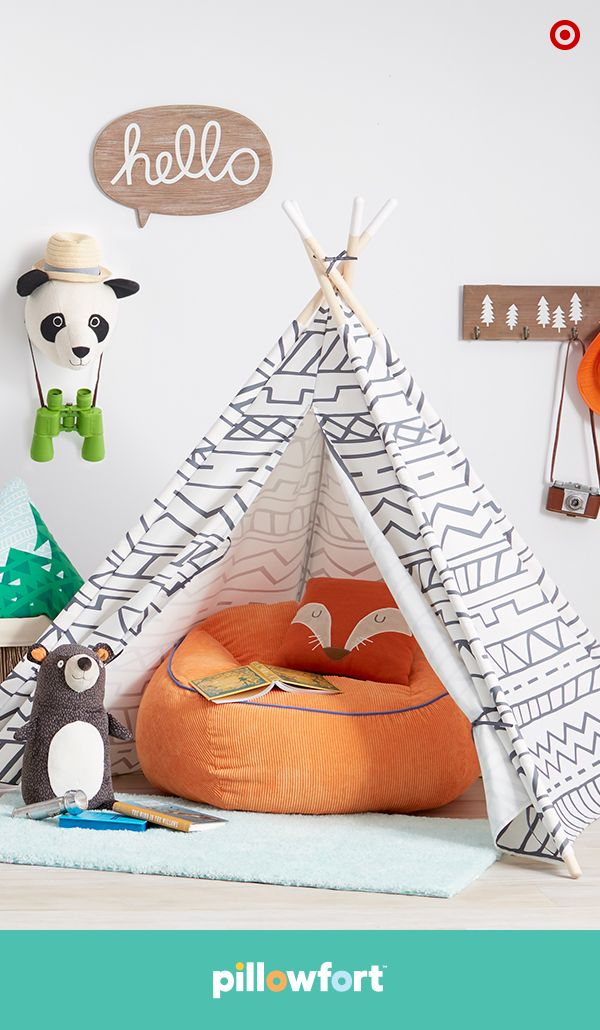 With Pillowfort, having kids in the mix won't mean sacrificing your home's style. This Camp Kiddo play tent fits into any living room or bedroom corner—just set it up over a comfy beanbag chair, add a cute fox throw pillow and a bear for company, and your little one's got the cutest play nook in town.