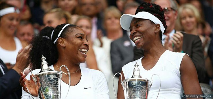 Serena and Venus Williams winning doubles in Wimbledon 2016