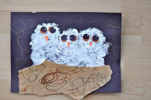 Pompom Dabbed White Owls Painting by SortingSprinkles, via Flickr