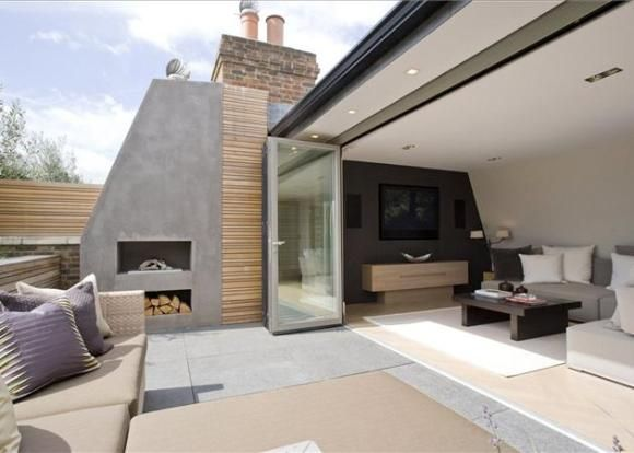 Fireplace on roof terrace