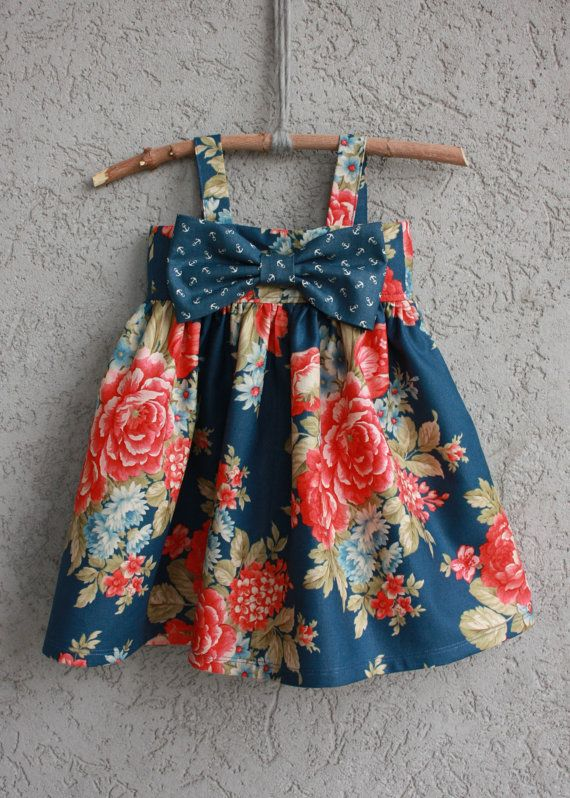 Nautical Big Bow Dress baby/toddler by dreamcatcherbaby on Etsy. , via Etsy.
