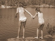 U Can Do It II ! - sepia children, kids, jump, cliff, rock, swim, cottage, lake, inspiration, quotes, pinterest, best, top rated, top selling, camping, adventure, canada, ontario, provincial park, grundy