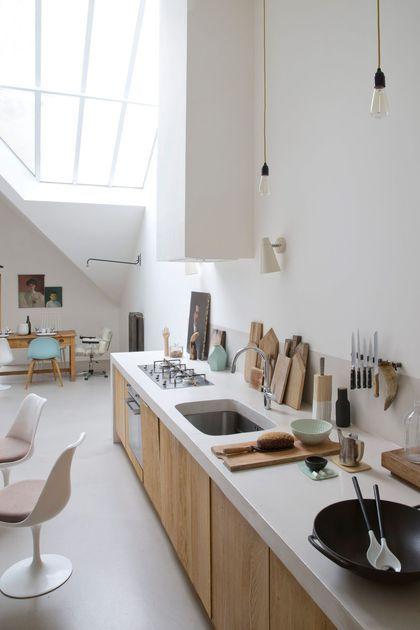 Aménager la cuisine le long du mur pour gagner des mètres carrés