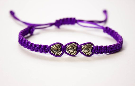 Heart Bracelet, macrame bracelet with 3 tibetan silver charm / beads hearts, adjustable friendship bracelets