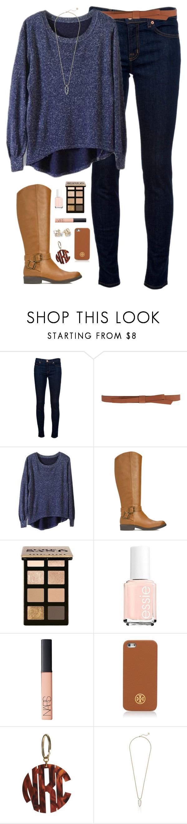 """not so cold winter day"" by classically-preppy ❤ liked on Polyvore featuring J Brand, Ganni, JustFab, Bobbi Brown Cosmetics, Essie, NARS Cosmetics, Kate Spade, Tory Burch and Kendra Scott"