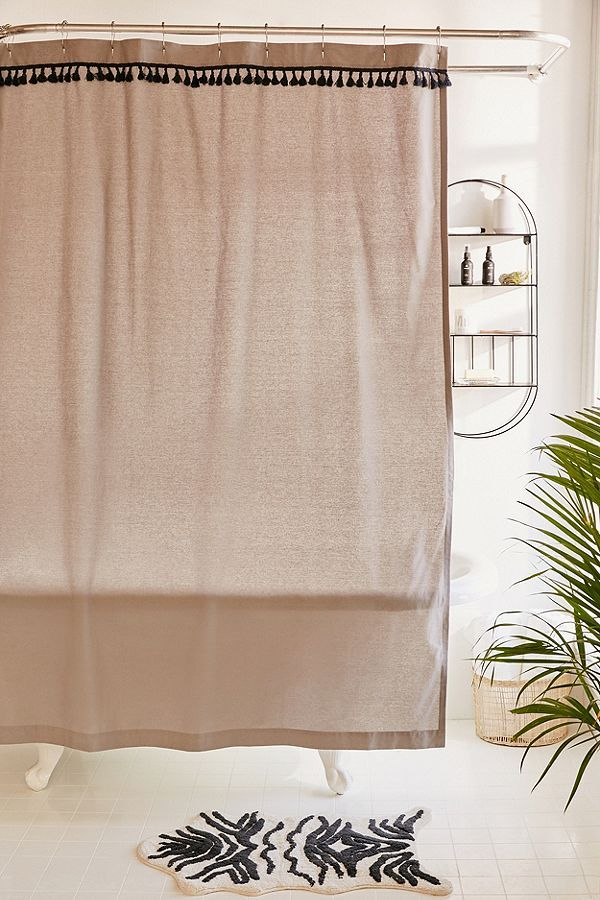 Washed Cotton Tassel Shower Curtain Urban Outfitters Simple