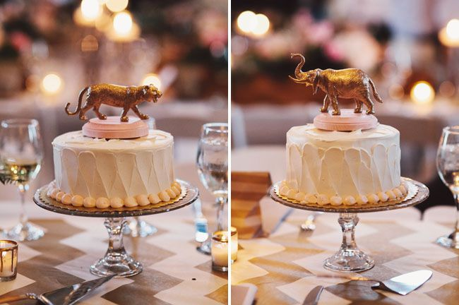 Small Cake in the Center of Each Table - Serves as the Dessert, Centerpiece, and (With a Number on Top) the Table Number!