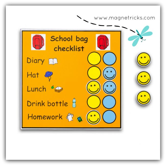 2 children magnetic school bag check list
