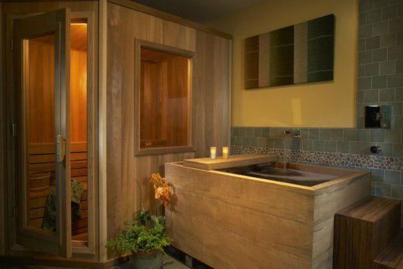Decoration-zen-bathroom-design-solid-wood-jacuzzi-sauna