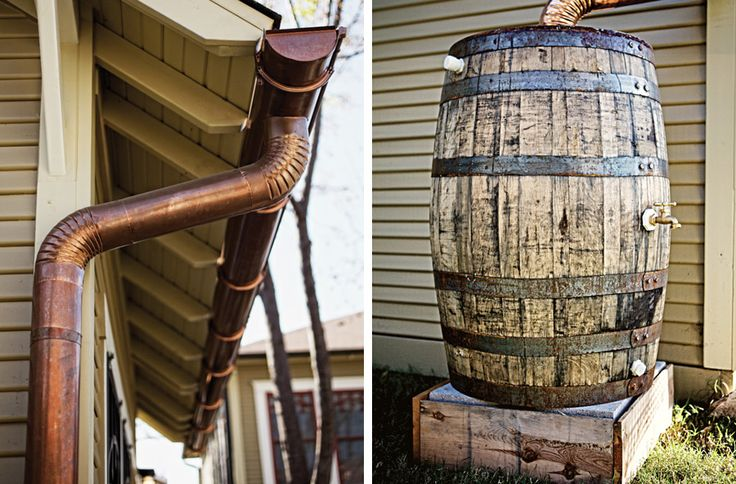 Copper gutters and wooden rain barrel