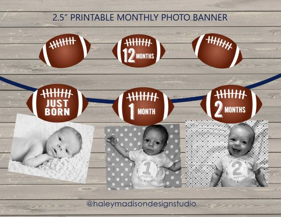 Football First Birthday 12 month photo birthday banner, Football party banner decoration DIGITAL FILE