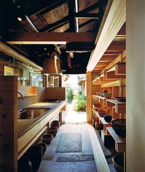 Japanese architect Tadashi Yoshimura renovated this kitchen in a  200-year-old house in Nara.