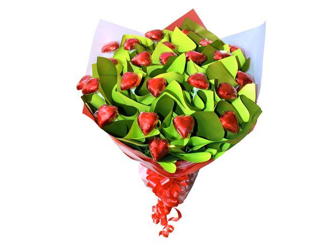 Two Dozen Hearts Chocolate Bouquet