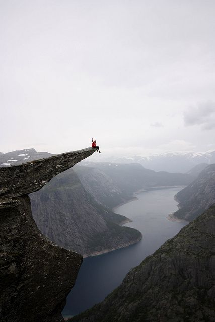 Trolltunga, Norway. About 1,100 meters (3,500 feet) above sea level - about 700 meters above lake Ringedalsvatnet down in the valley. Folgefonna National Park with the glaciers in the background. Hardangerfjord region in Fjord Norway. 3 hours drive from Bergen (BGO) and a total hike of 10 hours. http://www.pinterest.com/halinalis/breathtaking-view/