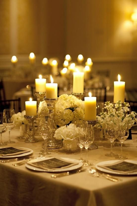 Wedding Centerpiece: Mercury Glass Pillar Holders, Pillar Candles, & White Floral Centerpieces