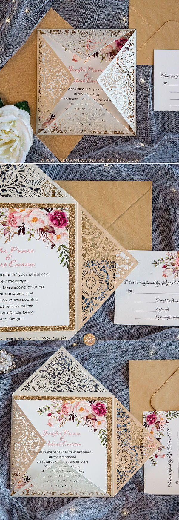 Rose Gold Glitter Laser Cut Wedding Invitations EWWS085