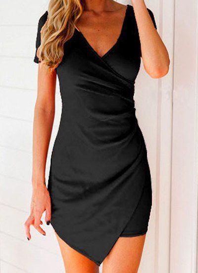 Sexy Plunging Neck Short Sleeve Asymmetrical Solid Color Dress For Women
