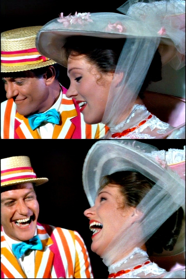 On the set of 'Mary Poppins,' 1964. Dick van Dyke and Julie Andrews