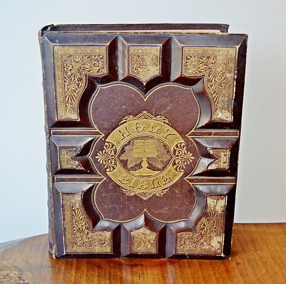Antique Holy Bible 1873 Embossed Leather Bible by Collectitorium