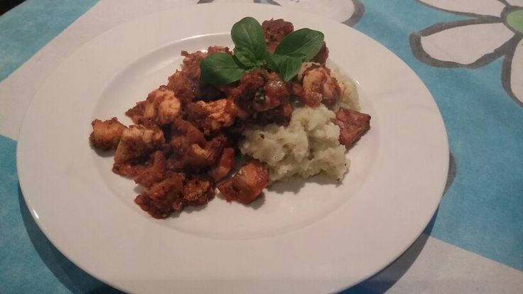 Chicken and aubergine stew over cauliflower mash.