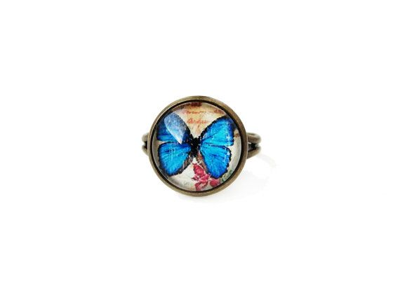 Butterfly small adjustable ring, animal insect theme, 12mm glass dome photo cabochon bezel ring, statement ring, blue yellow, simple elegant