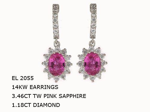 EL2055 14KW EARRINGS 3.46CT TW PINK SAPPHIRE 1.18CT DIAMOND