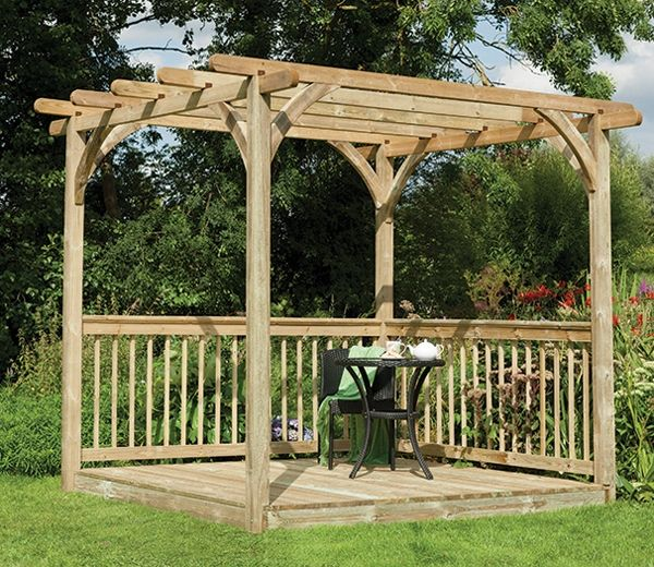 forest 8ft x 8ft patio deck kit with pergola pergolas garden products and decking. Black Bedroom Furniture Sets. Home Design Ideas
